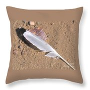 Feather On Damp Sand Throw Pillow