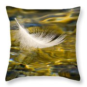 Feather On Golden Water Throw Pillow