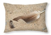 Feather On The Beach Throw Pillow