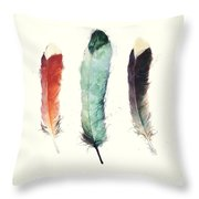 Feathers Throw Pillow by Amy Hamilton