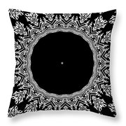 Feathers And Circles Kaleidoscope In Black And White Throw Pillow