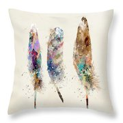 Feathers Throw Pillow by Bri B