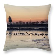 February Navy Pier Chicago Illinois Throw Pillow