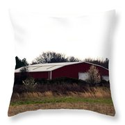 February's Red Barn Throw Pillow