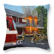 Feed Store Fire Throw Pillow