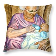 Feeding Baby 1 Throw Pillow