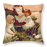 Feeding Ducks Throw Pillow