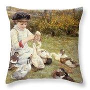 Feeding Ducks Throw Pillow