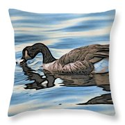 Feeding Goose Throw Pillow