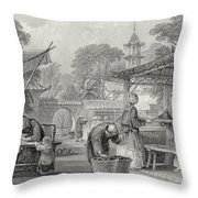 Feeding Silkworms And Sorting Cocoons Throw Pillow