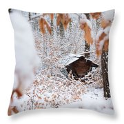 Feeding Site In The Forest In Winter  Throw Pillow