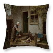 Feeding The Ducks Throw Pillow by Bernardus Johannes Blommers or Bloomers