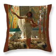 Feeding The Sacred Ibis In The Halls Of Karnac Throw Pillow