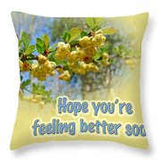 Feel Better Soon Greeting Card - Barberry Blossoms Throw Pillow