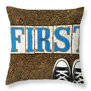 Feet First Throw Pillow