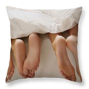Feet In Bed Throw Pillow