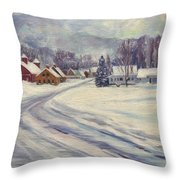 Felchville Village In The Snow Throw Pillow