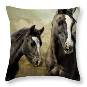 Feldspar And Ohanzee  - Pryor Mustangs Throw Pillow by Belinda Greb
