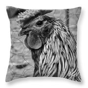 Felicia's Raving Rooster Throw Pillow