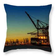 Felixstowe Docks Throw Pillow by Svetlana Sewell