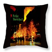 Feliz Navidad - Merry Christmas In New York - Trees And Star Holiday And Christmas Card Throw Pillow
