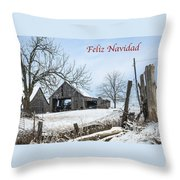 Feliz Navidad With Weathered Barn Throw Pillow