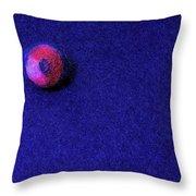 Felt Ball On Blue Felt Throw Pillow