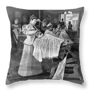 Female Barber-shop, 1895 Throw Pillow