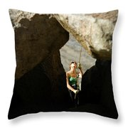 Female Belaying Between Rocks Throw Pillow