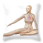 Female Body Sitting In Dynamic Posture Throw Pillow