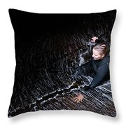 Female Canyoner Wading Through A Pool Throw Pillow