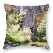 Female Climber, On A Beautiful Route Throw Pillow