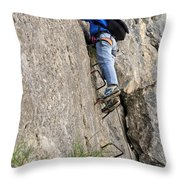 female climber on Via Ferrata Throw Pillow