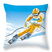Female Downhill Skier Winter Sport Throw Pillow by Frank Ramspott