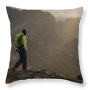 Female Hiker On Summit Of Tverrfjellet Throw Pillow