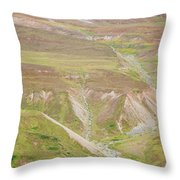 Female Hiker Standing With A Backpack Throw Pillow