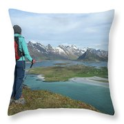 Female Hiker With Over Yttersand Beach Throw Pillow