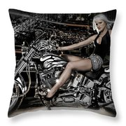 Female Model With A Motorcycle Throw Pillow