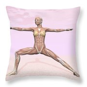 Female Musculature Performing Warrior Throw Pillow