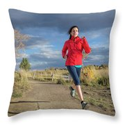 Female Runner In Colorado Throw Pillow