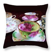 Feminine High Society Ladies Tea Party Throw Pillow