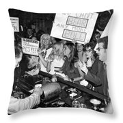 Feminists Protest  Brown's Bar Throw Pillow