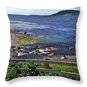 Fence Along Rocky Harbour-nl Throw Pillow