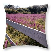Fence And Purple Wild Flowers Throw Pillow