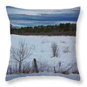 Fence And Snowy Field Throw Pillow