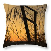 Fence At Sunset I Throw Pillow