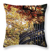 Fence At Woodlawn Cemetery Throw Pillow