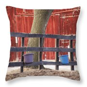 Fence Full Of Buckets Throw Pillow