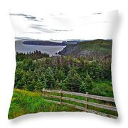 Fence In Fields At Long Point In Twillingate-nl Throw Pillow