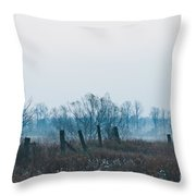 Fence In The Fog Throw Pillow